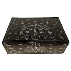 Antique Georgian Ebony Box/Writing Slope Inlaid Design - c. 1820