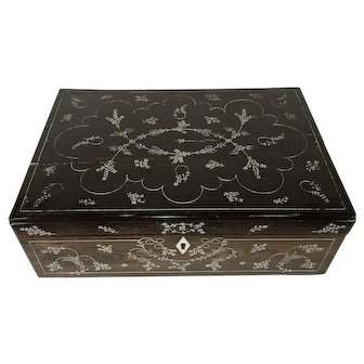 Antique Georgian Ebony Writing Slope Box Inlaid Design - c. 1820