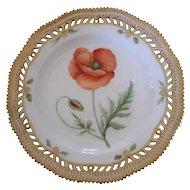 """Royal Copenhagen Flora Danica Pierced 9"""" Lunch Plate ~ Papaver Rhoeas. L"""
