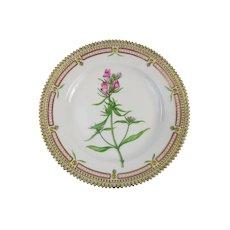 Rare Pre-1900 Flora Danica 7 3/4'' Dessert Plate by Royal Copenhagen - Antirrhinum Orontium. L
