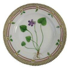 Rare Pre-1900 Flora Danica 7 3/4'' Dessert or Salad Plate  by Royal Copenhagen- Viola ulignosa.Schrad