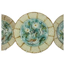 """French Majolica Barbotine 8 1/2"""" Plates Turquoise and Pale Yellow with Birds and Florals - Set of 3 - c 1906"""