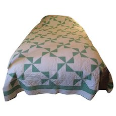 Vintage Quilt/Bedcover Green and White ~ c 1930