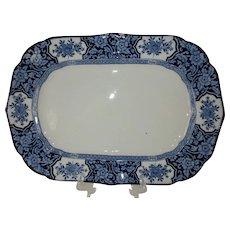 "Large 14"" Blue and White Oval Platter 'Khotan' - Wood & Sons c. 1907"