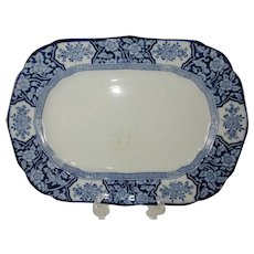 "Small 11"" Oval Serving Platter Blue and White Transferware 'Khotan' Wood & Sons - c. 1907"