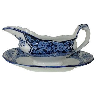 'Khotan' Gravy Boat and Underplate - Semi-Porcelain Wood & Sons - c.1907
