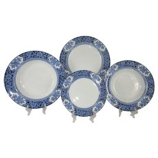 Full 48 Piece Set English Blue and WhiteTableware Setting for 12 - c.1907