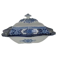Covered Vegetable Dish - Blue and White Transferware 'Khotan' Wood & Sons - c 1907