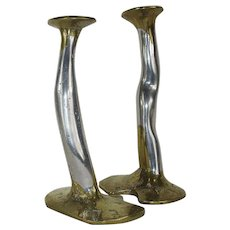Pair of Rare David Marshall Brass and Aluminium 'Puzzle' Candlesticks - c. 1970