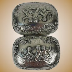 Continental Silver Soap Box Embossed with Frolicking Putti and Garlands