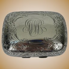 Sterling Silver  Hinged Soap Box 'Florentine' Acid Etched  c 1900