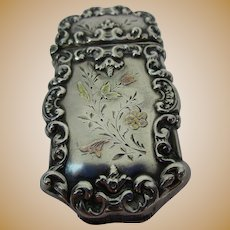 Unique Sterling And Gold Vesta Case Match Safe with Applied Yellow and Red Gold Flowers - c 1900