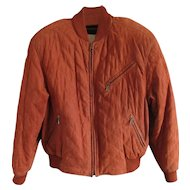 Italian Designer Suede Quilted Bomber Jacket - Christiano di Thiene- in 'Burnt' Caramel Color - US 42