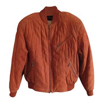 Vintage Italian Suede Quilted Bomber Jacket - Christiano di Thiene- in 'Burnt' Caramel Color - US 42