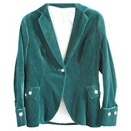 Vintage Chic Cotton Velvet Jacket Forest Green  - Scotch House - US Size 4