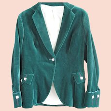 Vintage Chic Cotton Velvet Jacket Forest Green  - Scotch House - US Size 4
