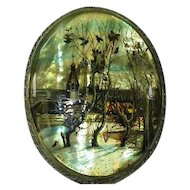Oval Russian Brooch Pin Hand Painted on Luminous Mother of Pearl - Signed by Artist