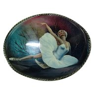 Oval Russian Finely Hand Painted Brooch Pin of a Ballerina - Signed