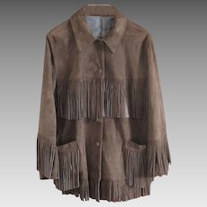 Exceptional Quality Soft Suede Generously Fringed Jacket -Deep Chocolate Brown - US 18