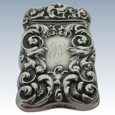Elegantly Embossed Sterling Silver Vesta Match Safe