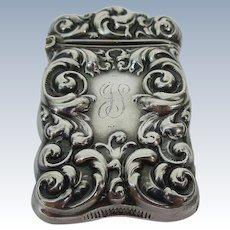 Elegantly Embossed Sterling Silver Vesta Match Safe