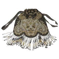 19th C Micro-Beaded Fringed Reticule Purse Handbag