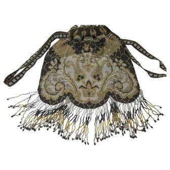 19th C Micro-Beaded Fringed Reticule Purse Handbag