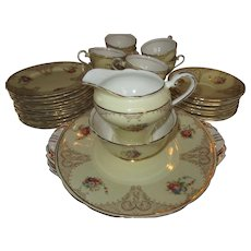 Classic English Aynsley 36 piece China Tea Set - Pale Yellow and Gold c. 1934