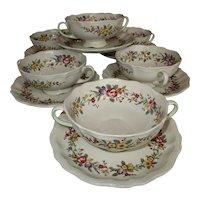 Set of 6 Vintage English Royal Doulton Soup Cups and Saucers Floral Design - c 1930