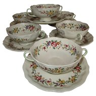 Set of 6 English Royal Doulton Soup Cups and Saucers Floral Design - c 1930