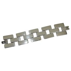 Rare Georg Jensen 'Brick Link' Sterling Bracelet by Astrid Fog  - c. 1970