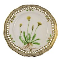 Rare c 1900 Flora Danica Pierced 9'' Luncheon Plate by Royal Copenhagen - Thrincia herta. Roth.