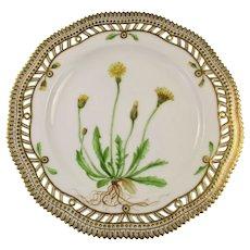Rare c 1900 Flora Danica Pierced 9'' Luncheon Plate by Royal Copenhagen - Thrincia herta. Roth.