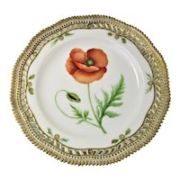 Rare Early 1900 Flora Danica Pierced 9'' Luncheon Plate by Royal Copenhagen - Papaver Rhoeas.L