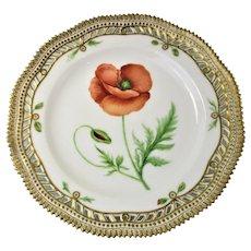 Rare Early 1900 Flora Danica Pierced 9'' Luncheon Plate by Royal Copenhagen - Papaver Rhoeas.L