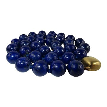 "Natural 10mm Lapis Lazuli Bead Necklace 20"" with 9 kt gold clasp"