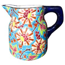 Longwy French Faience 'Enameled Cloisonné' Jug ~ c 1930