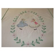 Charming Vintage Bedspread/Cover Hand Stitched Appliqued Embroidered for Single Bed ~ c 1920