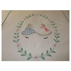 Vintage Bedspread/Cover Hand Stitched Appliqued Embroidered for Single Bed ~ c 1920