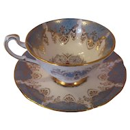 Beautiful Vintage English Paragon Tea Cup and Saucer - Teal Blue and Gold