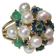 Jade Pearl Sapphire Emerald 14 Karat Gold Cocktail Ring