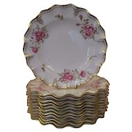 12  Derby 'Royal Pinxton Roses' Flower Dinner Plates- Part of Complete Set