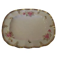 "Large Royal Crown Derby 14 1/2"" Oblong Platter - 'Royal Pinxton Roses' pattern"
