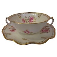 8 Royal Crown Derby  Cream Soup Cups and Saucers - 'Royal Pinxton Roses'