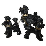 Vintage Porcelain Group of  French Poodles ~ Mother and 2 Puppies on brass leads