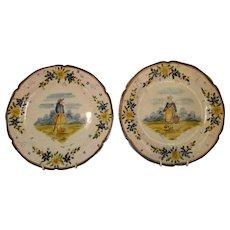 Pair Antique Quimper French Plates ~ c 1904
