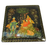 Collector's Quality Exquisite Palekh Russian Black Lacquer Box ~Tale of Tsar Saltan ~ 1986 With Certificate by Artist O. Golubev