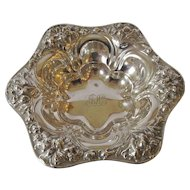 Sterling Antique Repousse Design Bonbon or Dressing Table Dish - c 1910