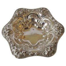 Antique Sterling Repousse Design Candy Dish - c 1910