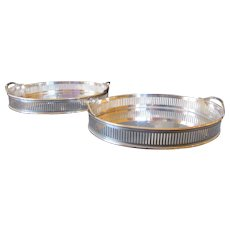 Pair Silver Plate Oval Nut or Bon Bon Dishes with Pierced 'Border' - Early 20th Century